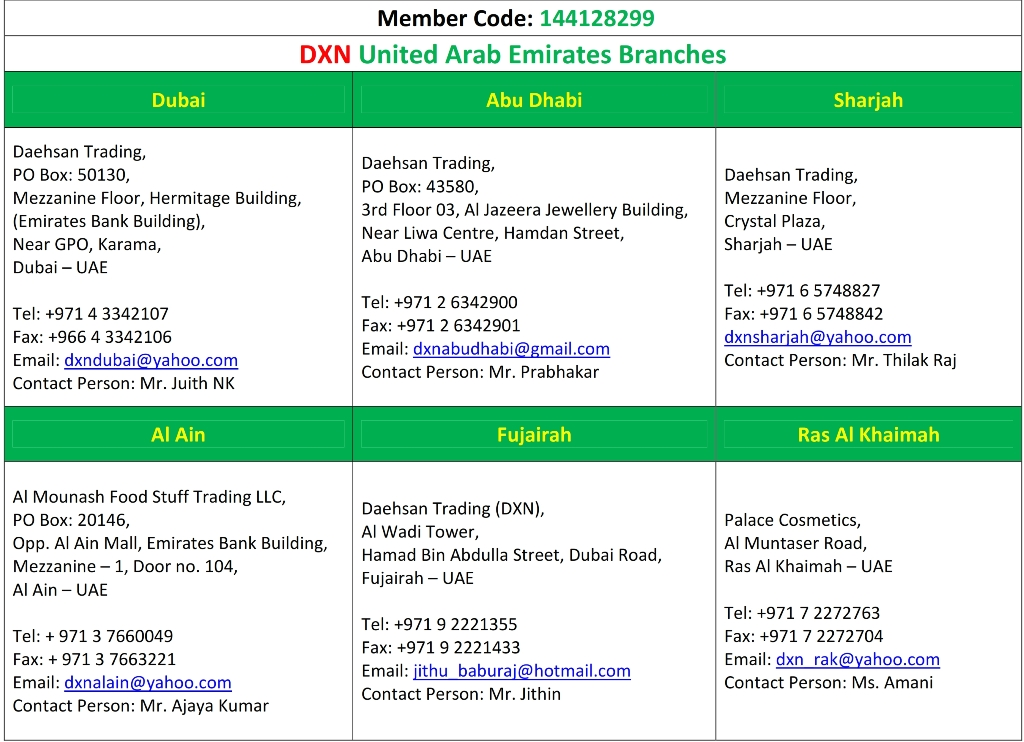 DXN UAE Branches